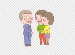 卡通手绘人物小情侣见家长