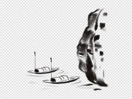 水墨水面停泊渔船插画