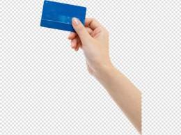 拿着蓝色卡片的手