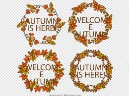 4款彩绘秋季植物花环矢量素材