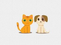 狗狗与猫咪免扣PNG