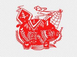 手绘猪年剪纸插画
