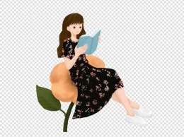 手绘坐在花上看书的女生插画