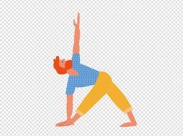 卡通瑜伽运动男孩