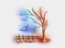 梦幻万圣节枯树蝙蝠栅栏手绘插画