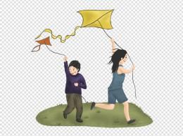 旅游出游秋游放风筝手绘素材