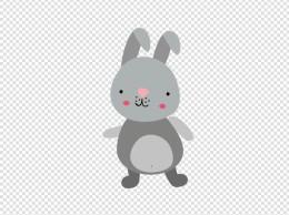 卡通可爱动物灰色兔子