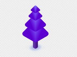 紫色层次植物大树元素