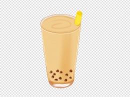 下午茶饮品珍珠奶茶插画