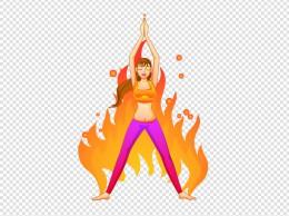 手绘做瑜伽的女神