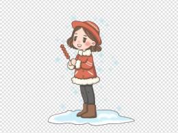 雪中的少女PNG