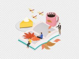 秋季书本落叶休闲咖啡创意扁平场