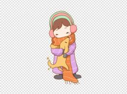 冬季卡通人物抱着狗狗免抠PNG