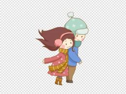 冬季情侣依偎围巾保暖免抠PNG