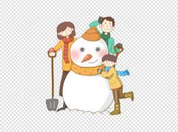 冬季一家人堆雪人免抠PNG素材