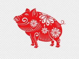 微笑抬起头的剪纸猪
