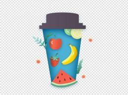 矢量免抠创意咖啡杯纸张边框