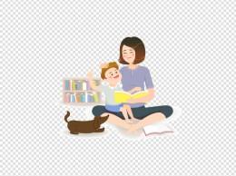 看书母子亲子插画