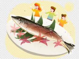 秋季养生秋刀鱼插画