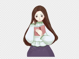 卡通冬季阅读中的少女