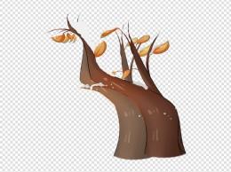 手绘秋冬季树木黄叶插画