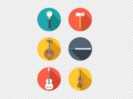 彩色乐器设备工具矢量图标合集