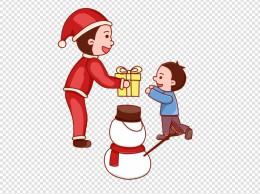圣诞圣诞节圣诞夜儿童雪人礼物卡