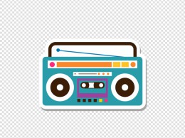 波普艺术卡通收音机贴纸
